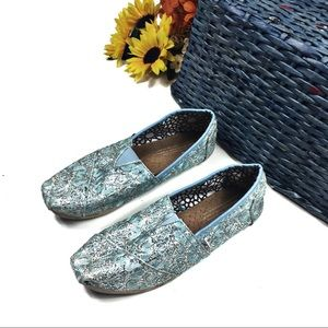 ☕️ 5/$25 Blue Glitter TOMs Slip On Flats